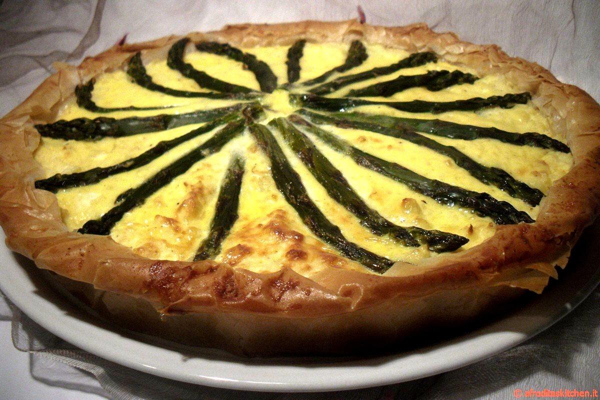 Quiche (torta salata) di pasta fillo con patate e asparagi