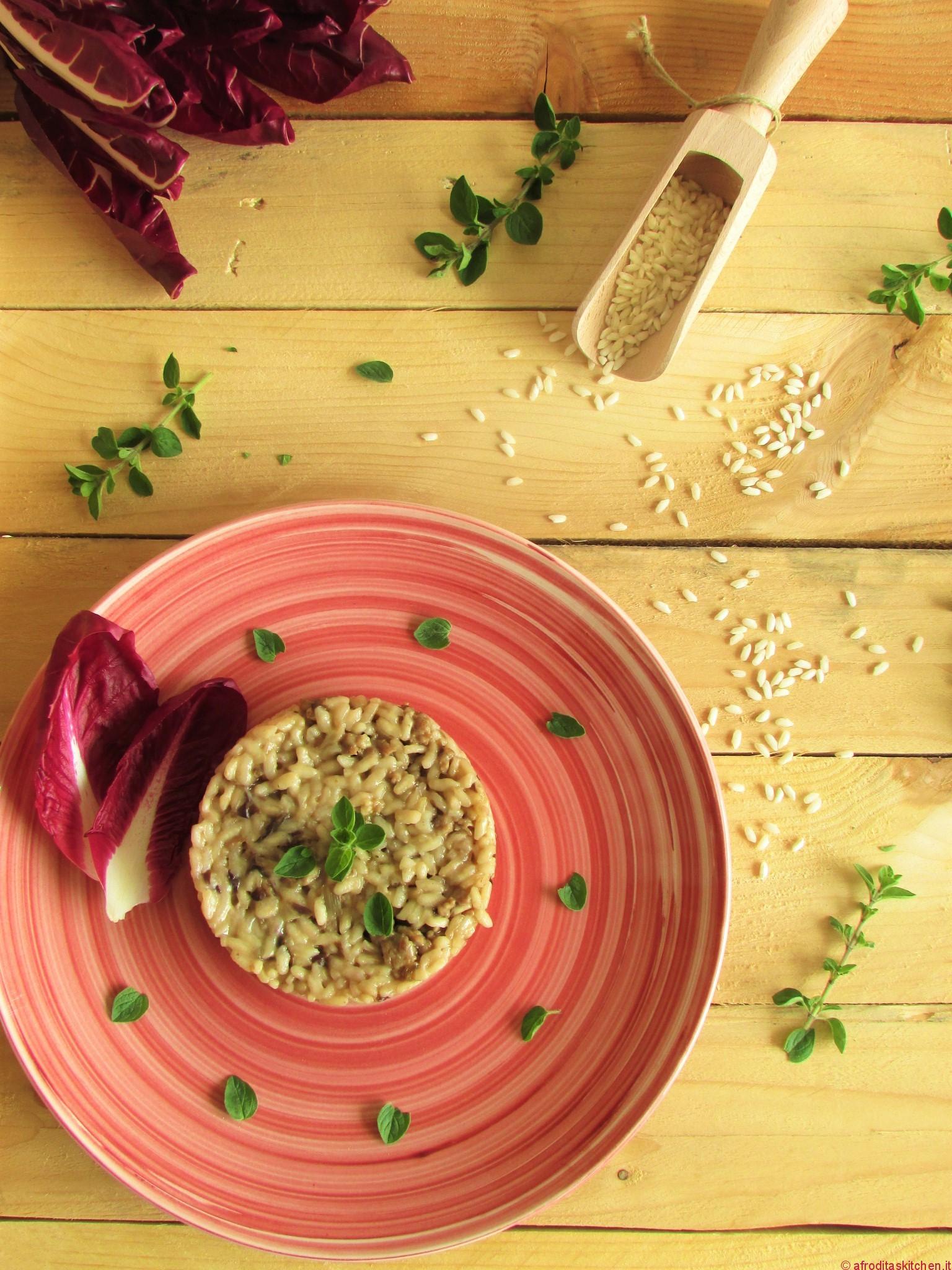 Risotto al radicchio rosso di Treviso e salsiccia