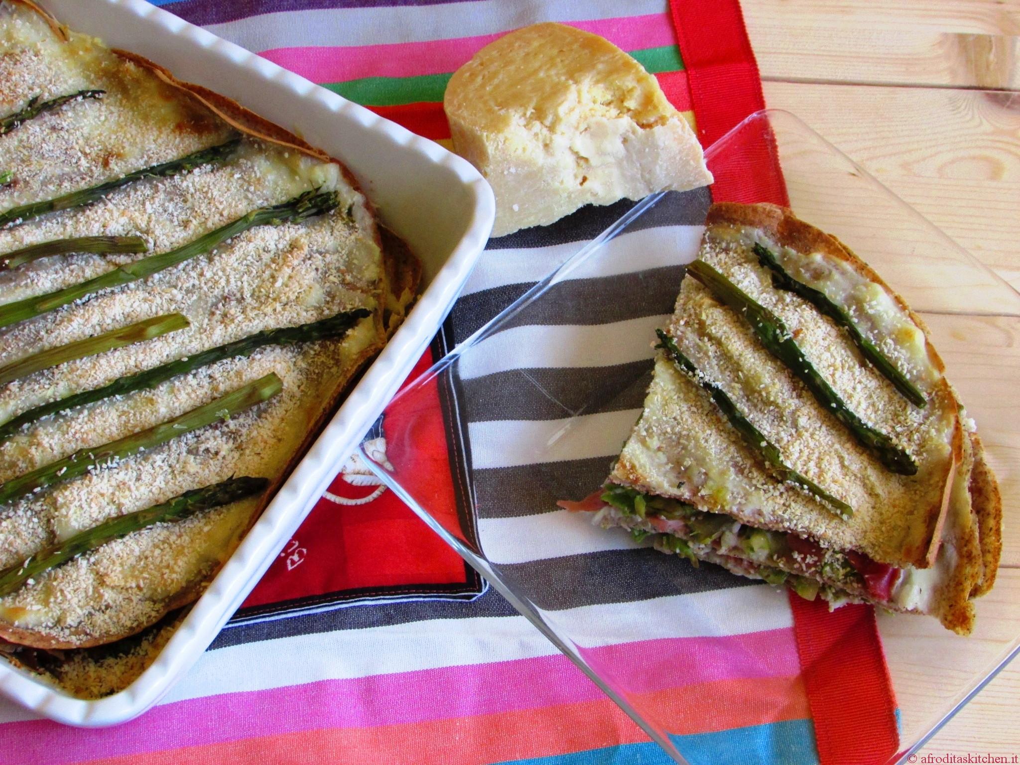 Lasagne di crespelle al grano saraceno con asparagi e spalla cotta di San Secondo