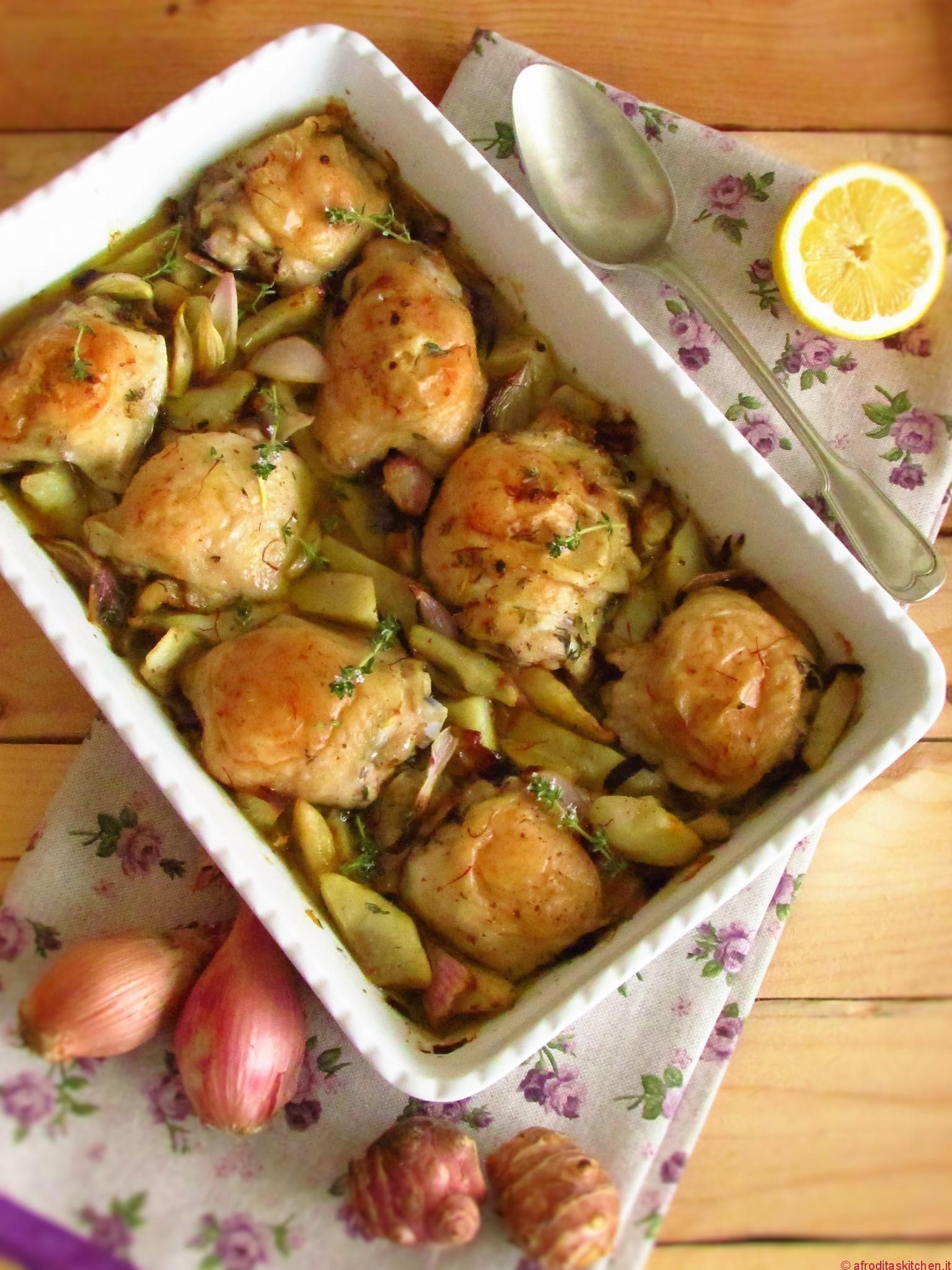 Pollo arrosto con carciofi di Gerusalemme di Yotam Ottolenghi